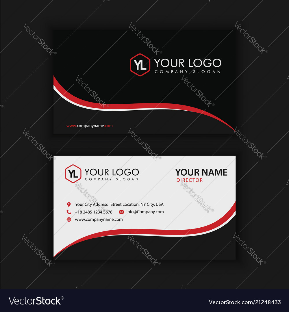 Creative and clean business card template black vector image wajeb Gallery