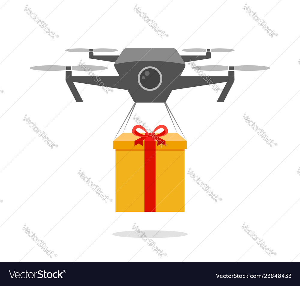 Drone delivering present daily delivery robot vector