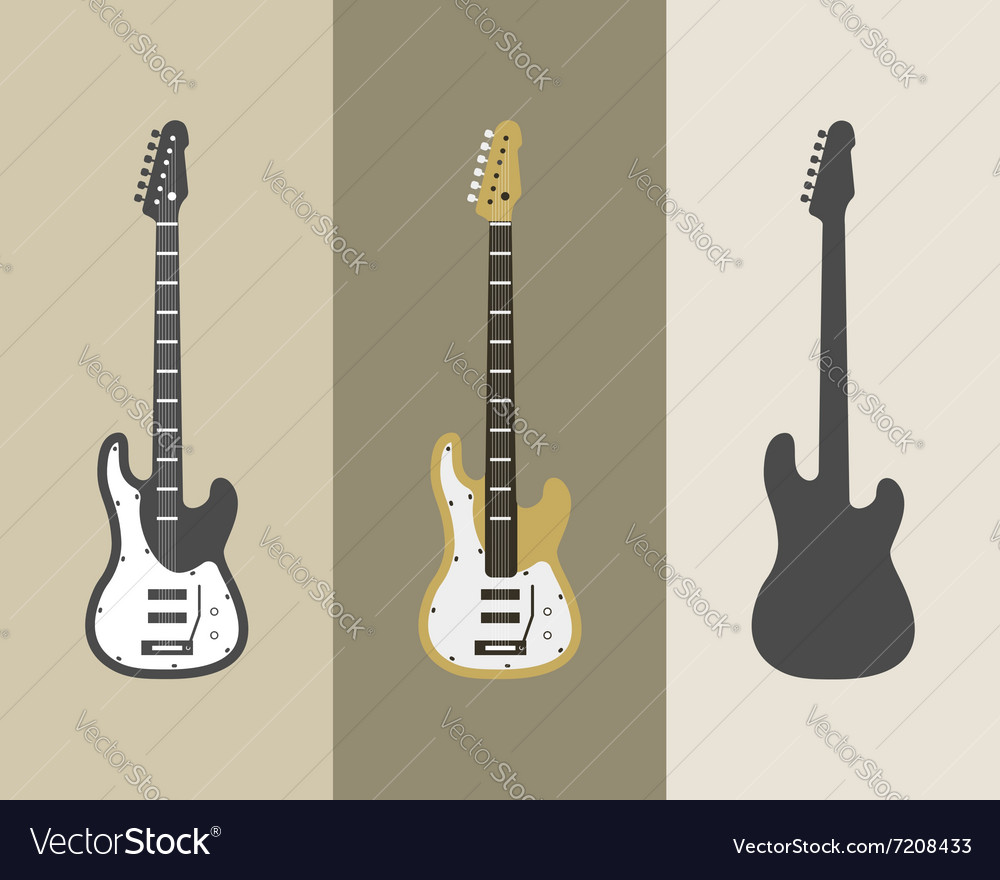 Electric guitar icons set Guitar isolated