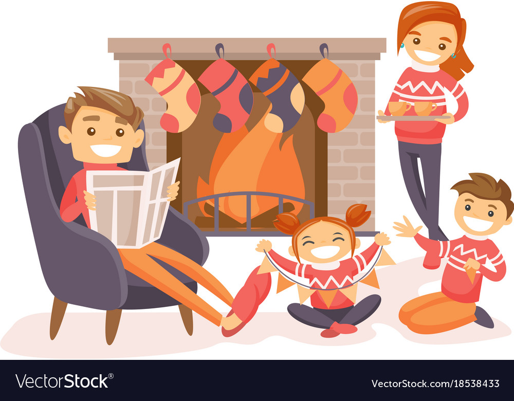 family celebrating christmas by the fireplace vector image - Celebrating Christmas