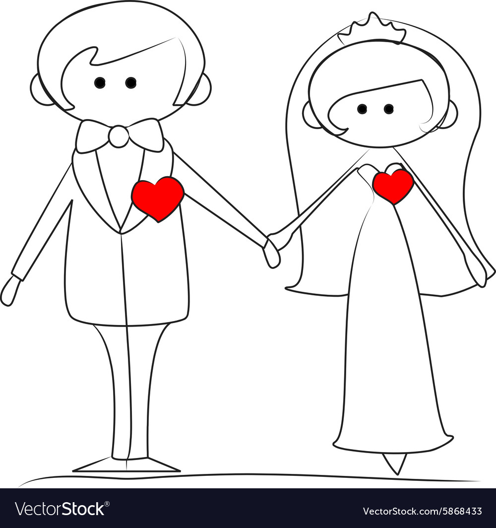 Groom and bride with hearts vector image