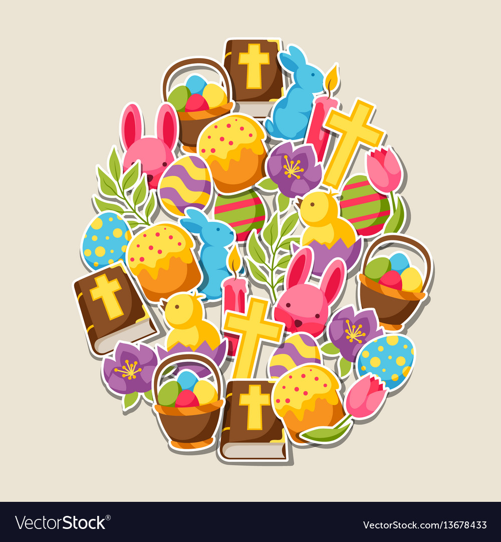 Happy easter greeting card with decorative objects