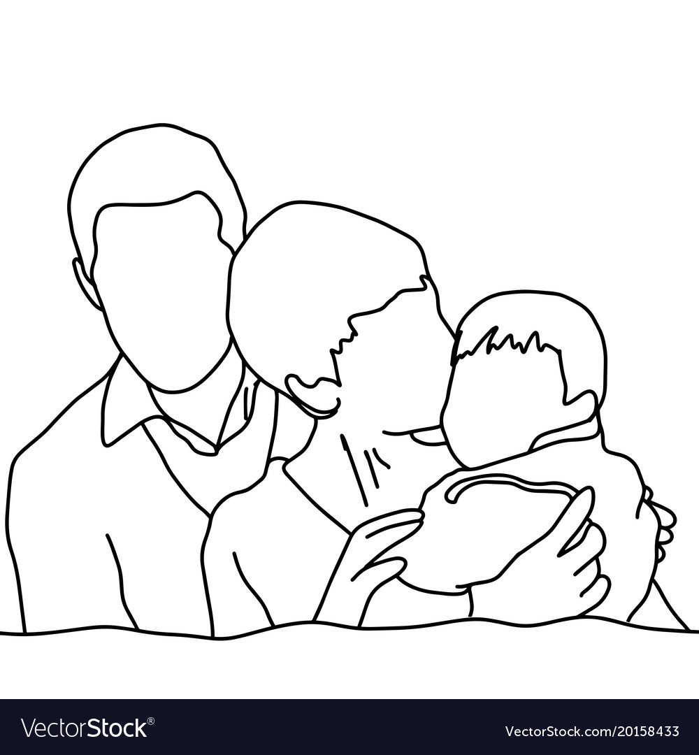 Happy family sketch hand drawn with