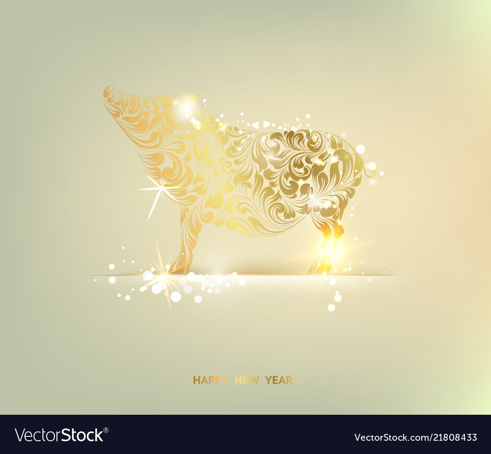 Happy new year 2019 holiday card with golden pig