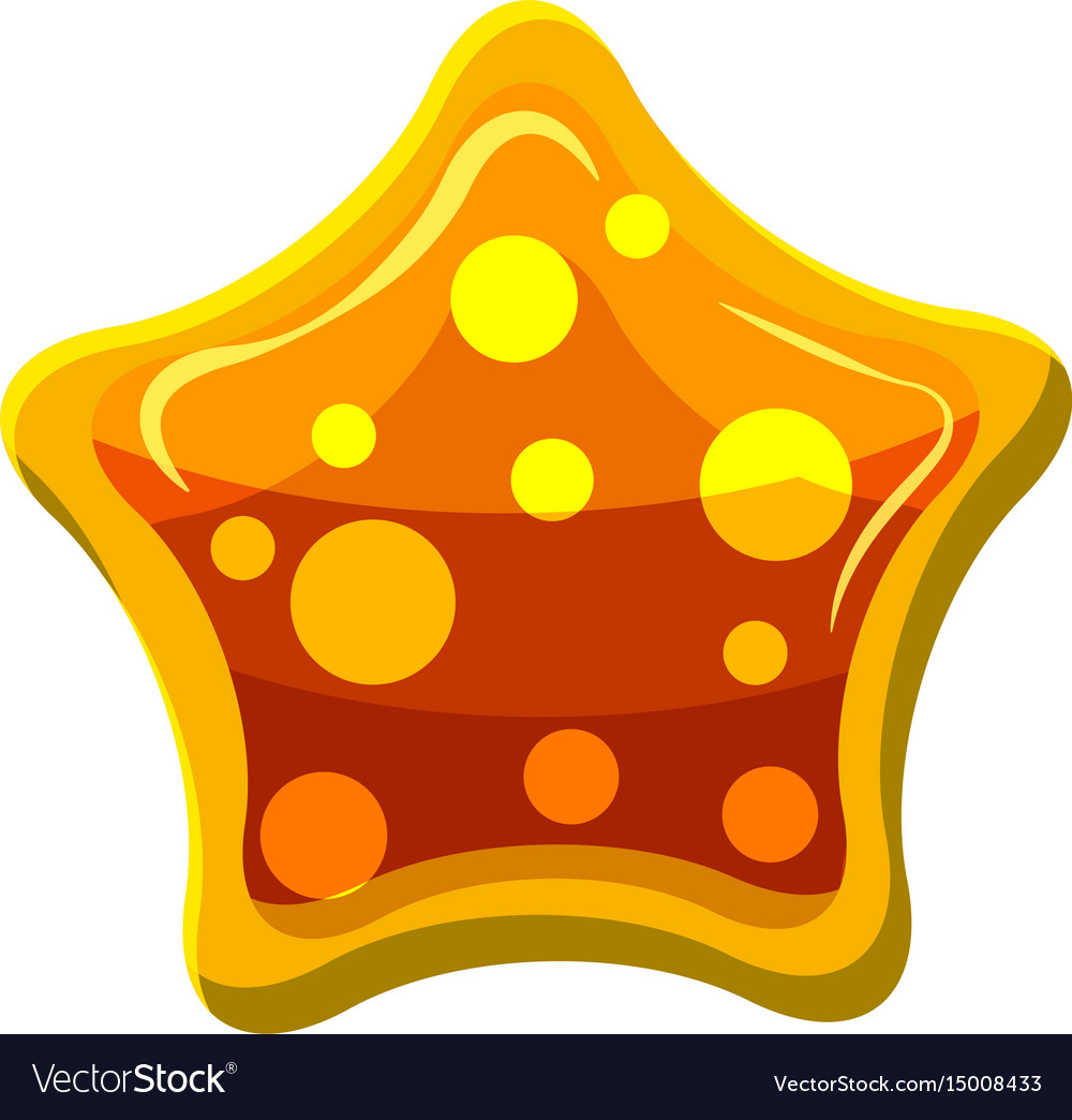 Orange star shaped candy icon cartoon style vector image