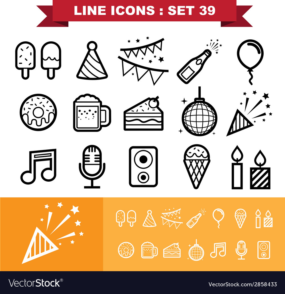 Party line icons set 39
