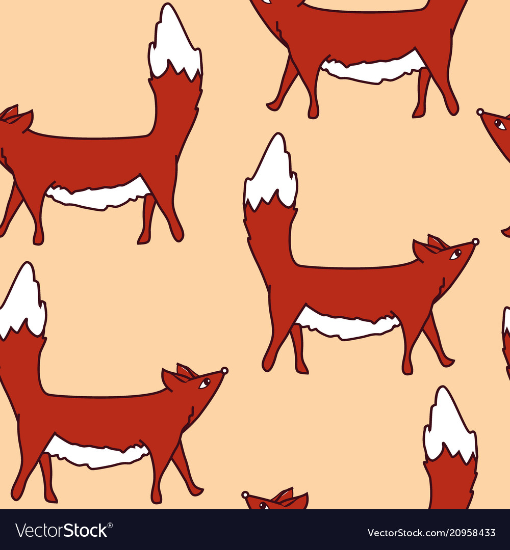 Pattern with cute foxes kids