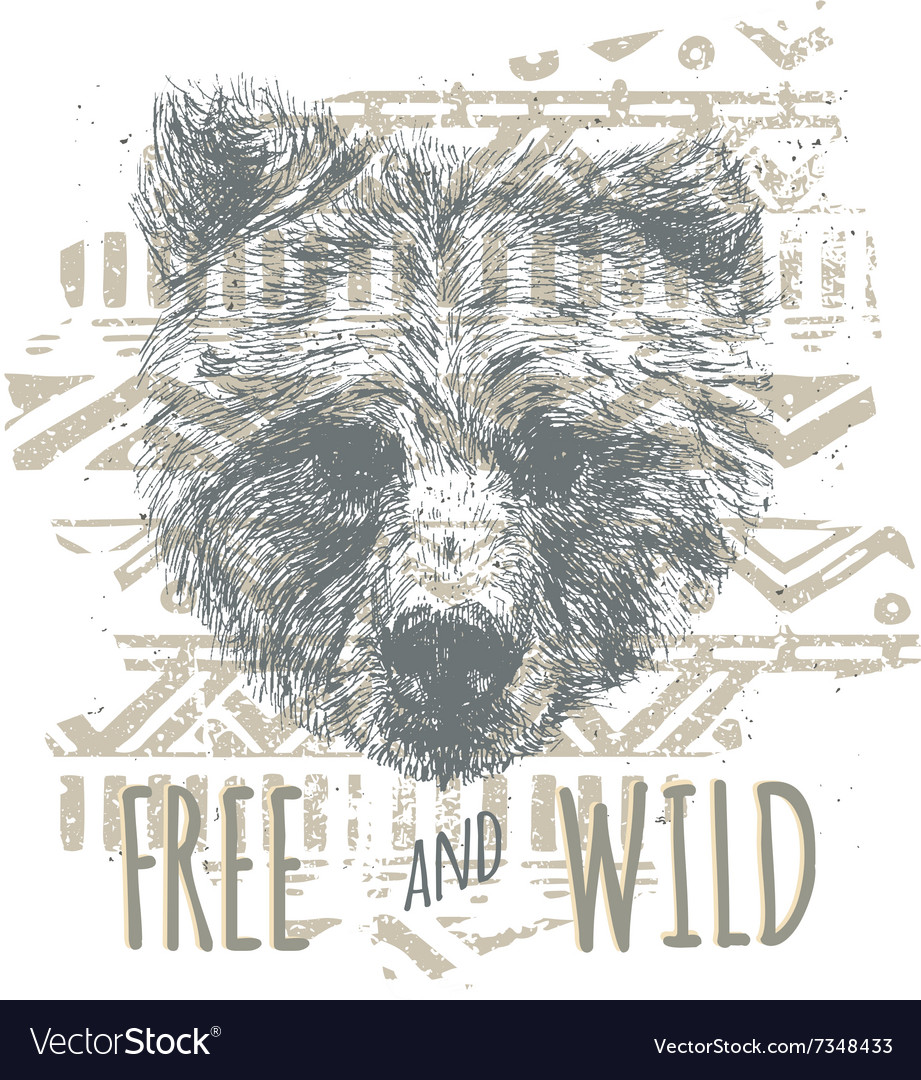Vintage graphic with bear head and slogan in