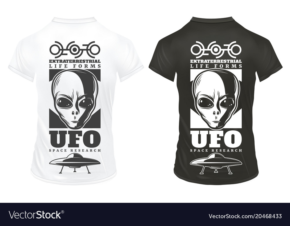 Vintage ufo print template vector image