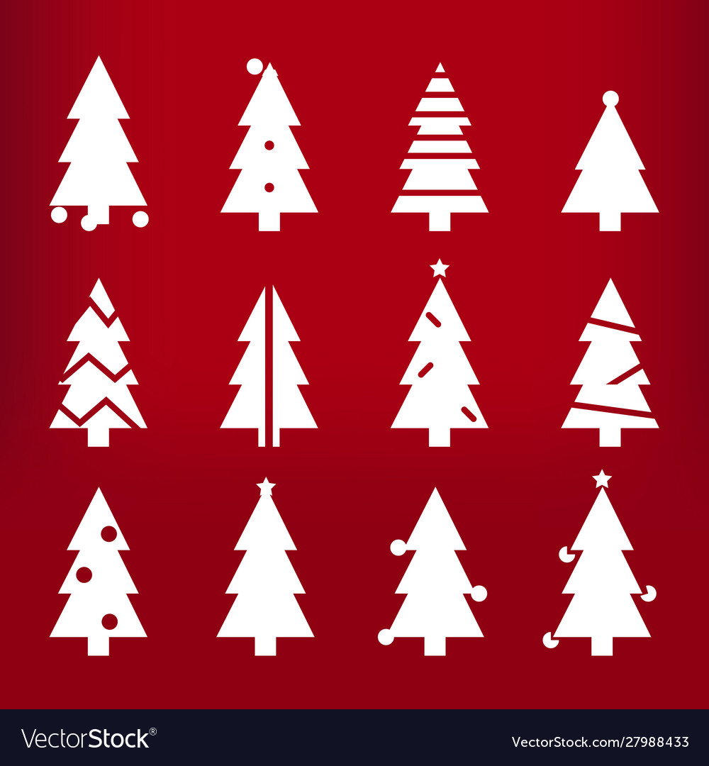 White silhouette christmas trees stylized simple