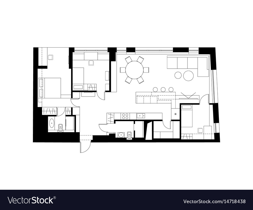 Architectural plan with the furniture