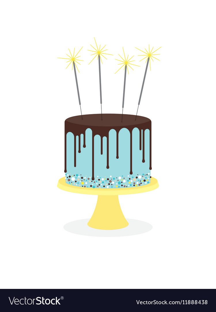 Birthday Cake With Frosting And Sparklers Vector Image