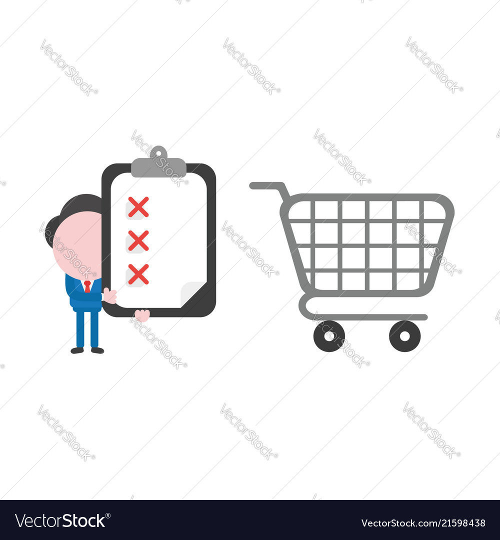 Businessman character with shopping cart and