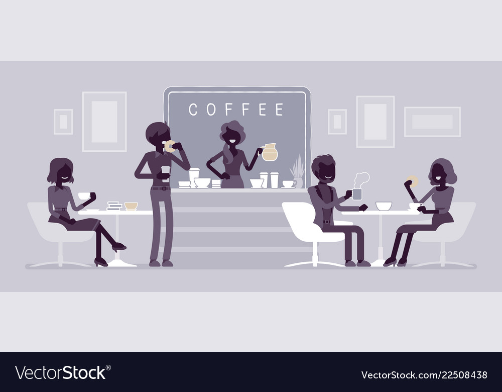 Cafe shop and people relaxing