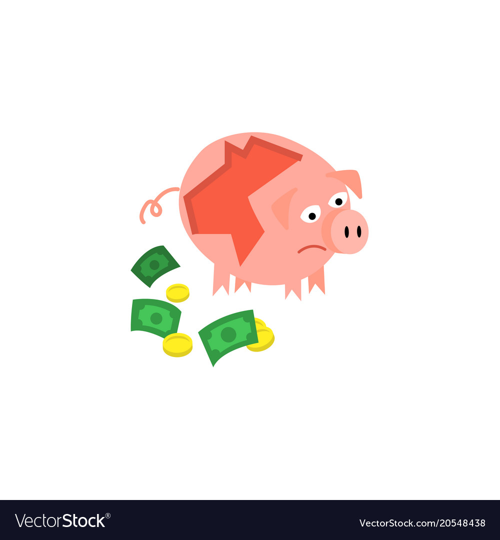 cartoon repaired piggy bank sad royalty free vector image