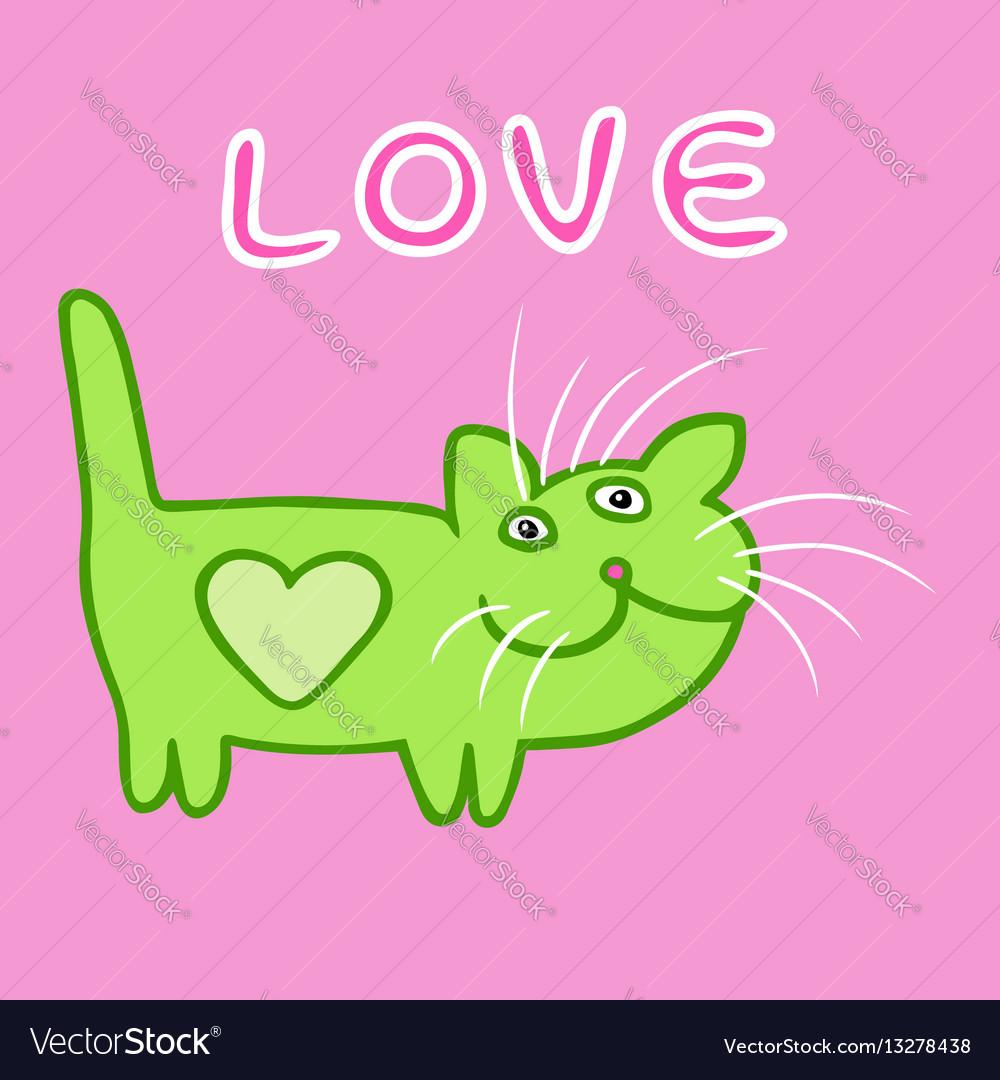 Cute heart cat cartoon character