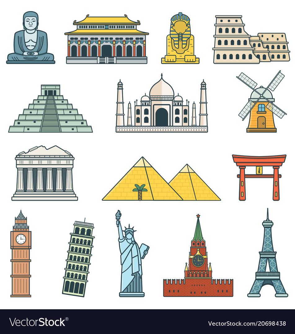 Famous world landmarks travel and tourism concept