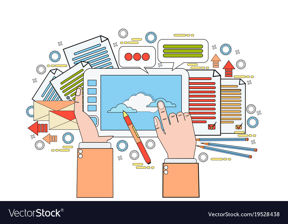 Graphic Designer Tool On Workplace Hands Holding Vector Image