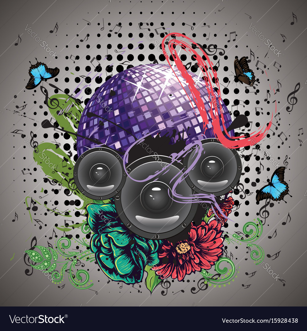 Grunge purple disco ball vector image