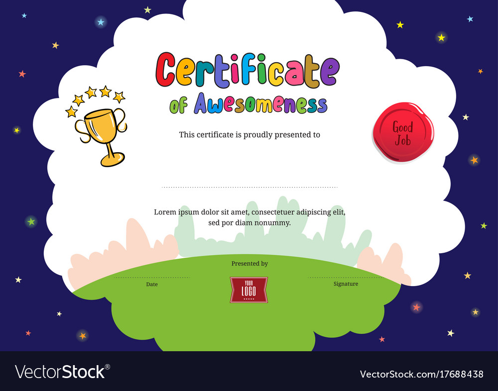 Kids diploma or certificate of awesomeness Vector Image