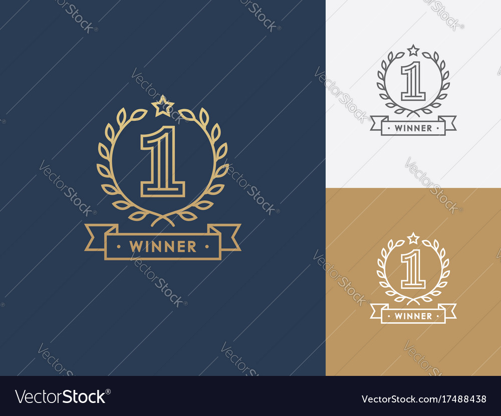 Linear winner emblem with number 1