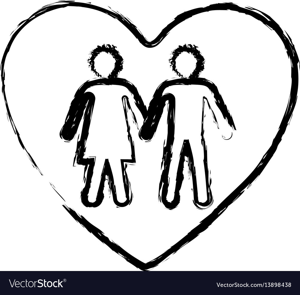 Monochrome sketch of couple inside of heart