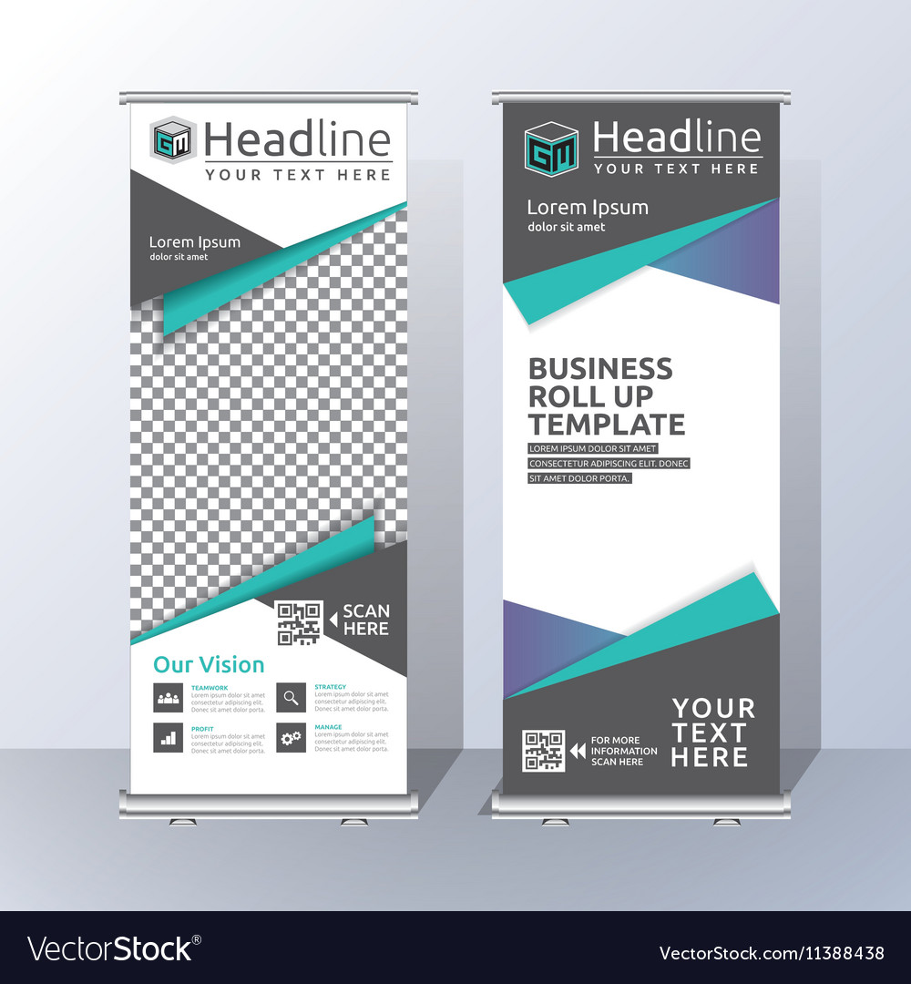 roll up banner template design royalty free vector image