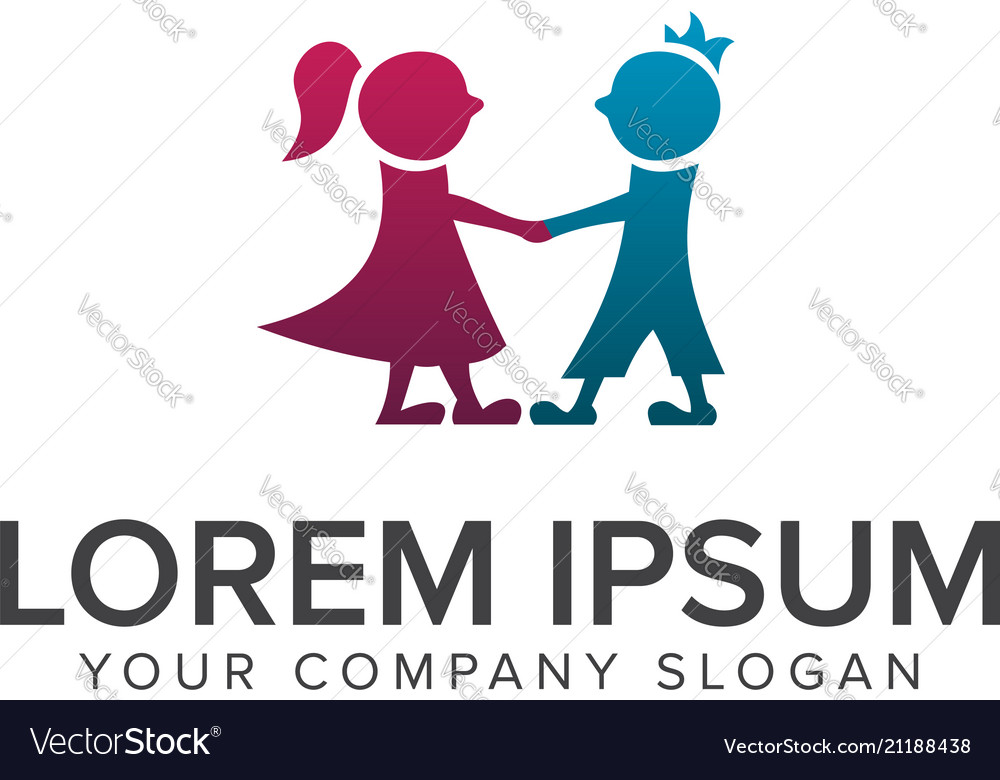 Romantic couple people logo design concept