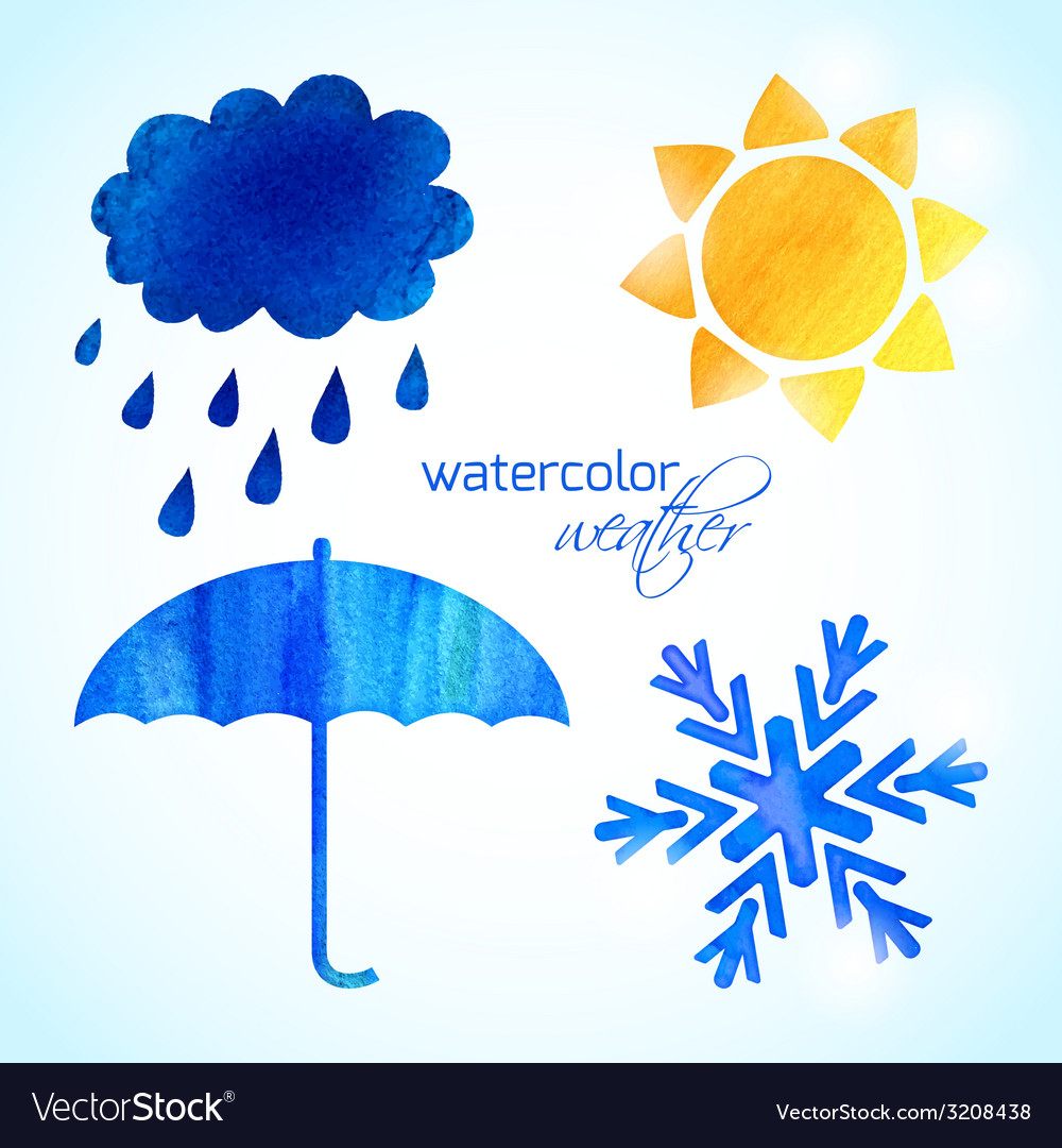 Set of watercolor weather icons