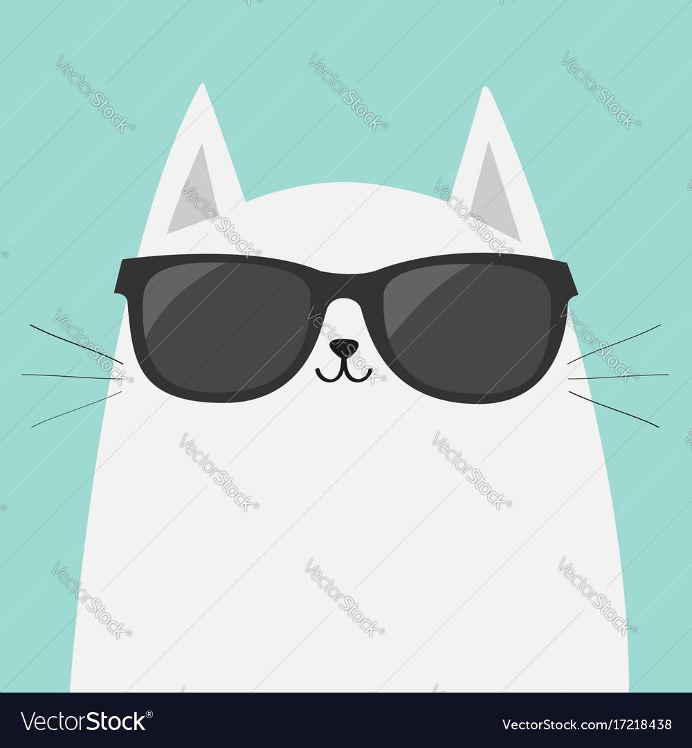 823436320f White cat wearing sunglasses eyeglasses black Vector Image