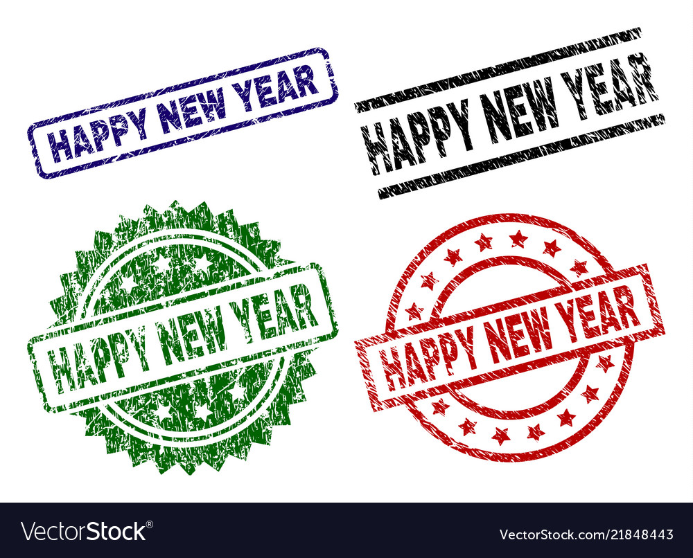 Damaged textured happy new year seal stamps Vector Image