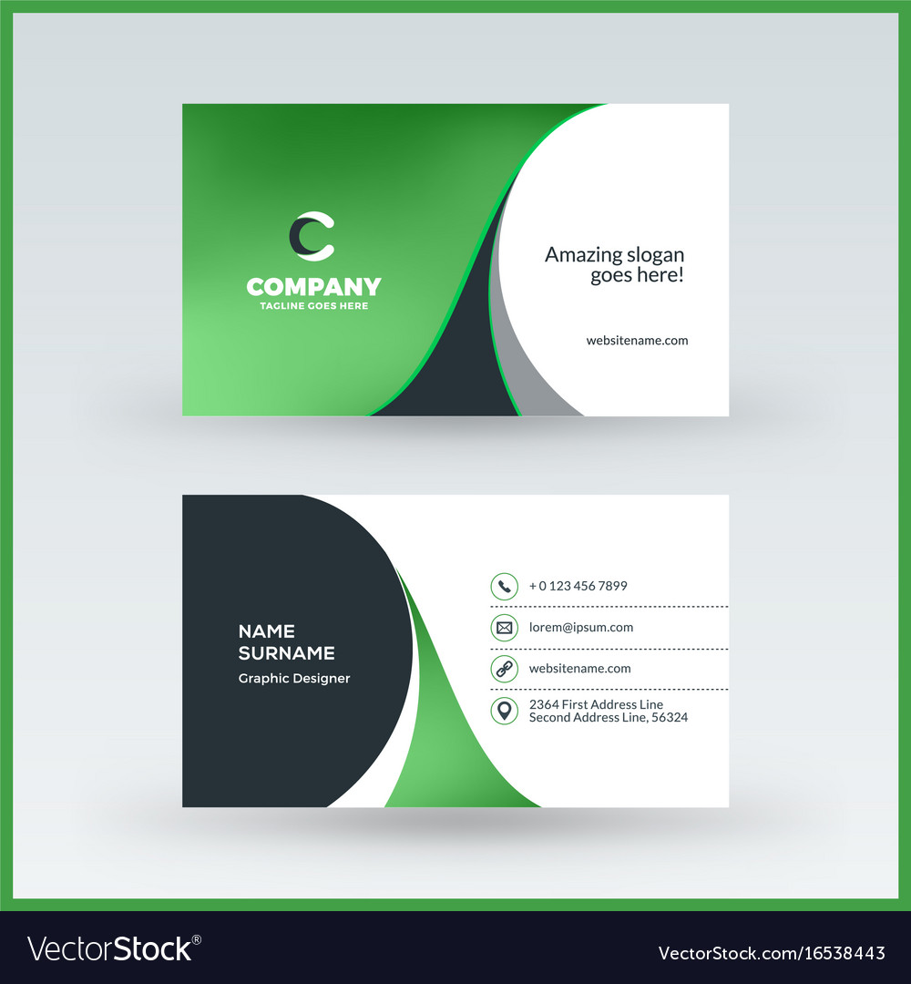 Double sided horizontal business card template vector image wajeb Gallery