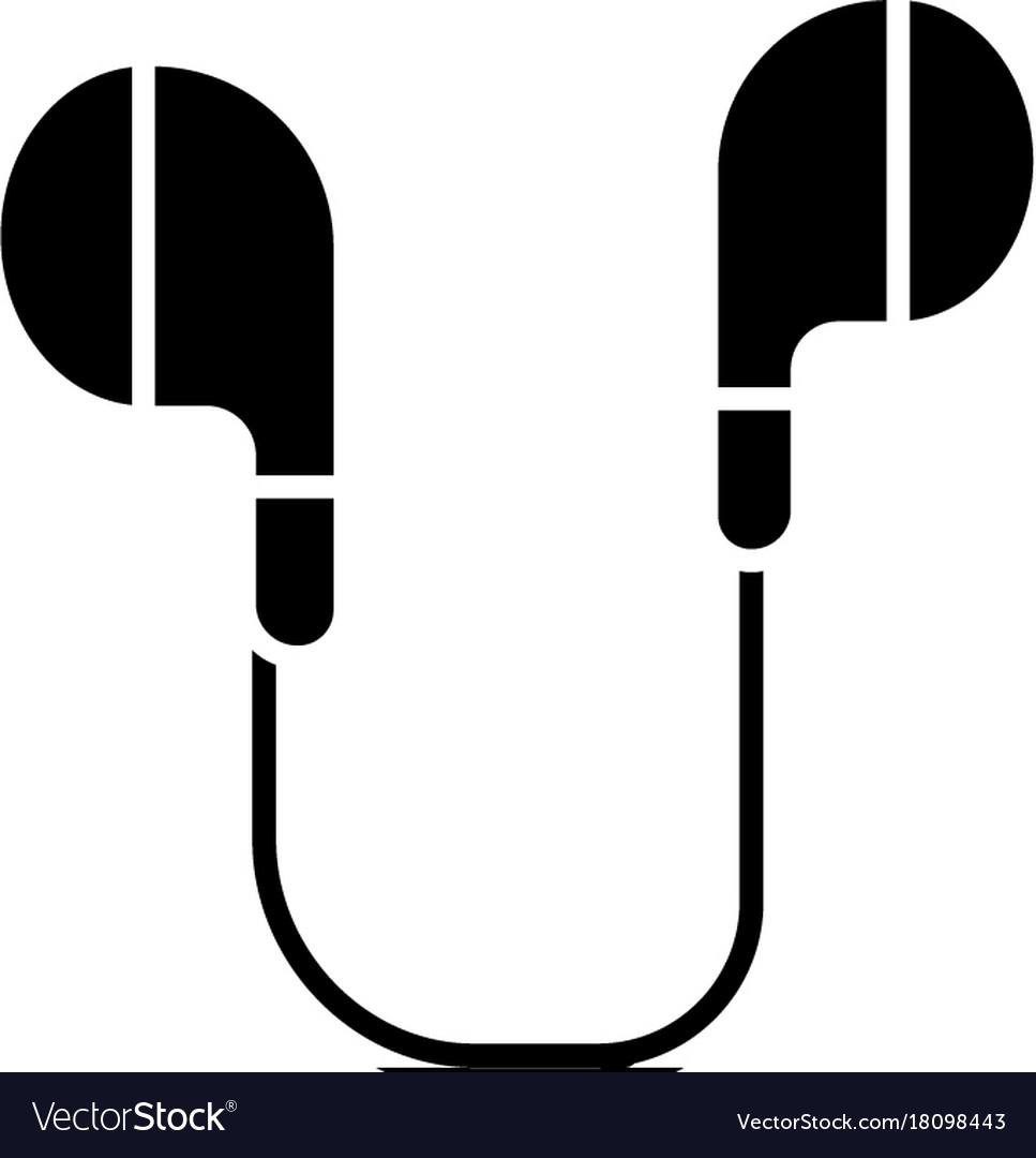 Earphones icon black sign on