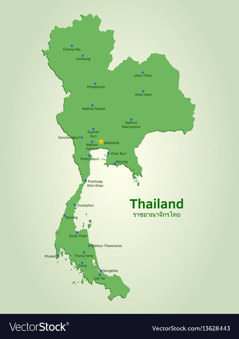 Lampang Thailand Map.Flat Map Of Thailand Royalty Free Vector Image