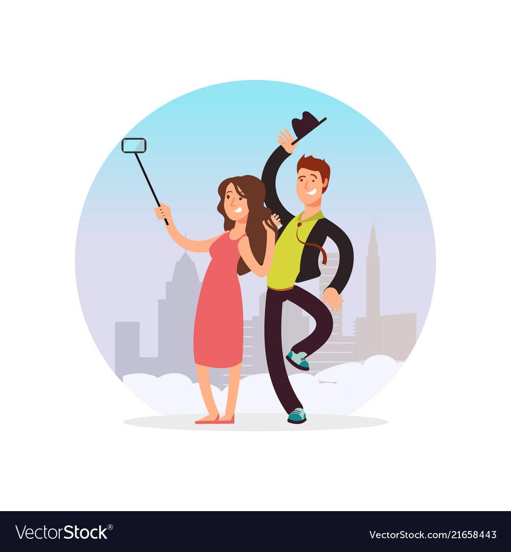 Happy couple making selfie cartoon character man