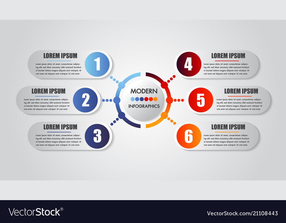 Infographics business 6 steps options concept