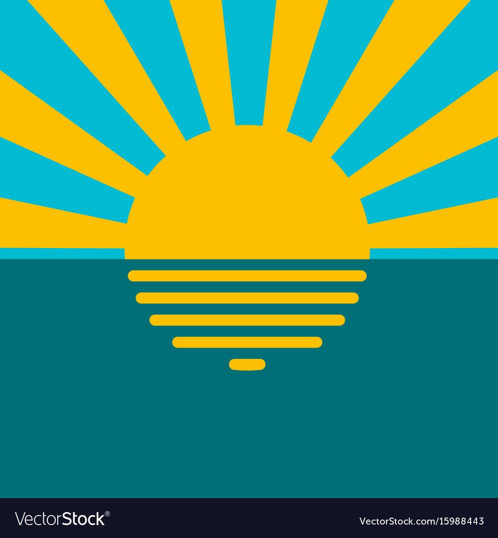 Landscape sunset on water sea ocean vector image