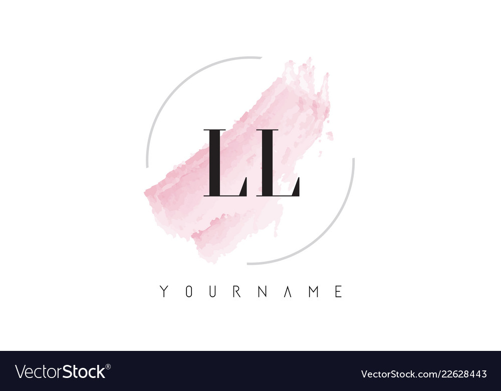 Ll l watercolor letter logo design with circular