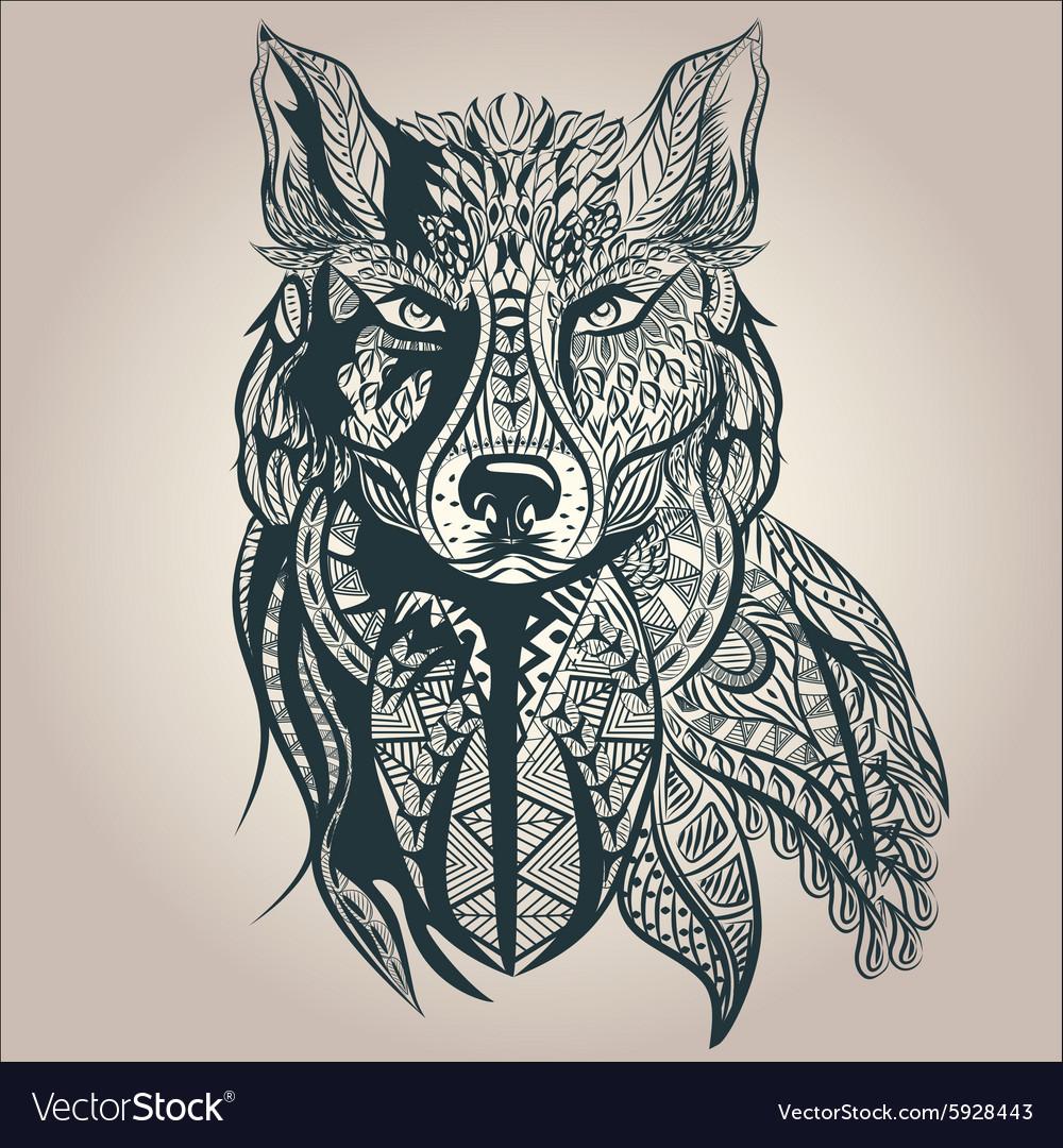 Ornamental decorative wolf predator pattern