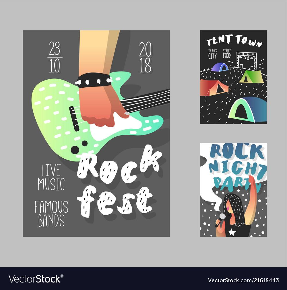 Rock festival poster music fest banner template