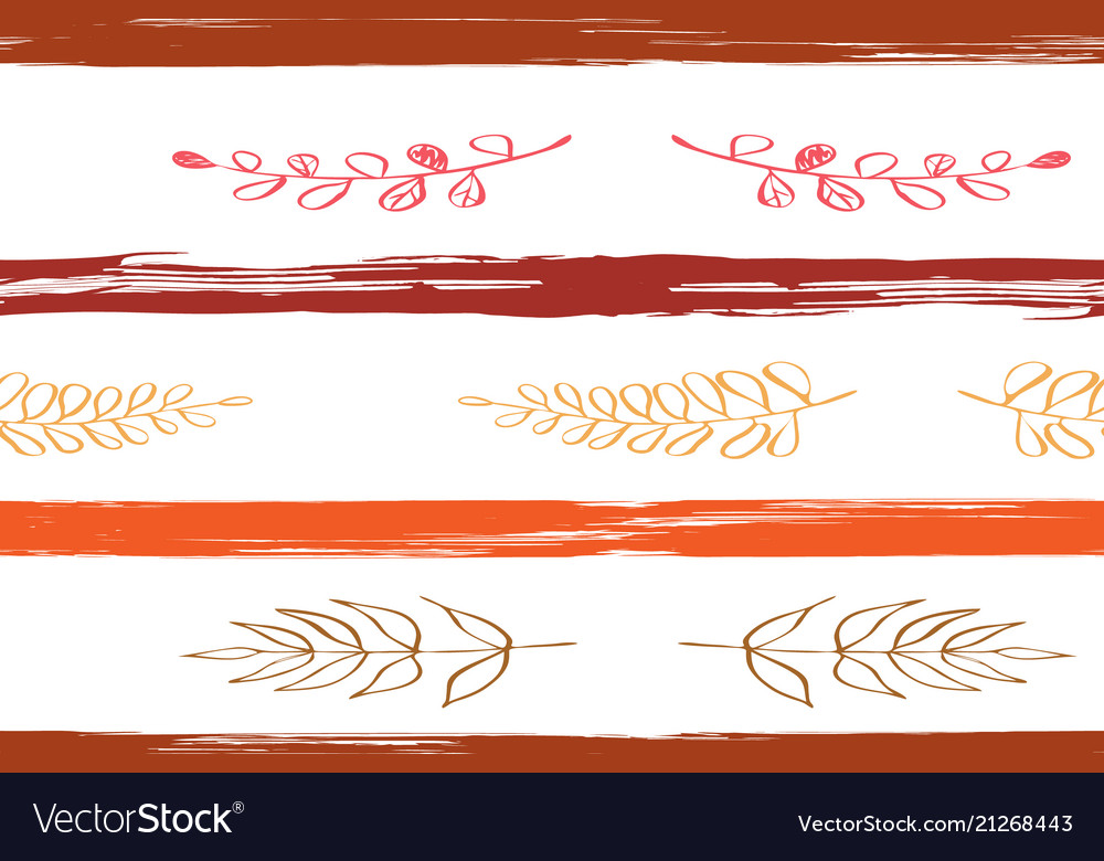 Seamless autumn background in brown red flowers vector image