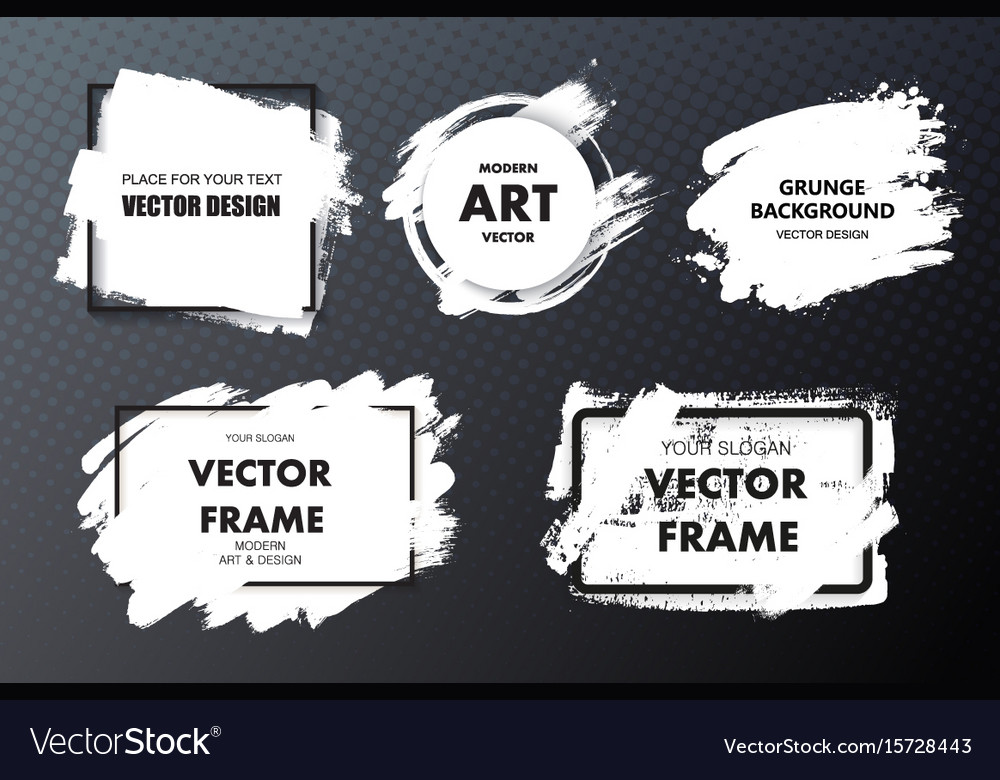 Set of paint ink brush strokes backgrounds