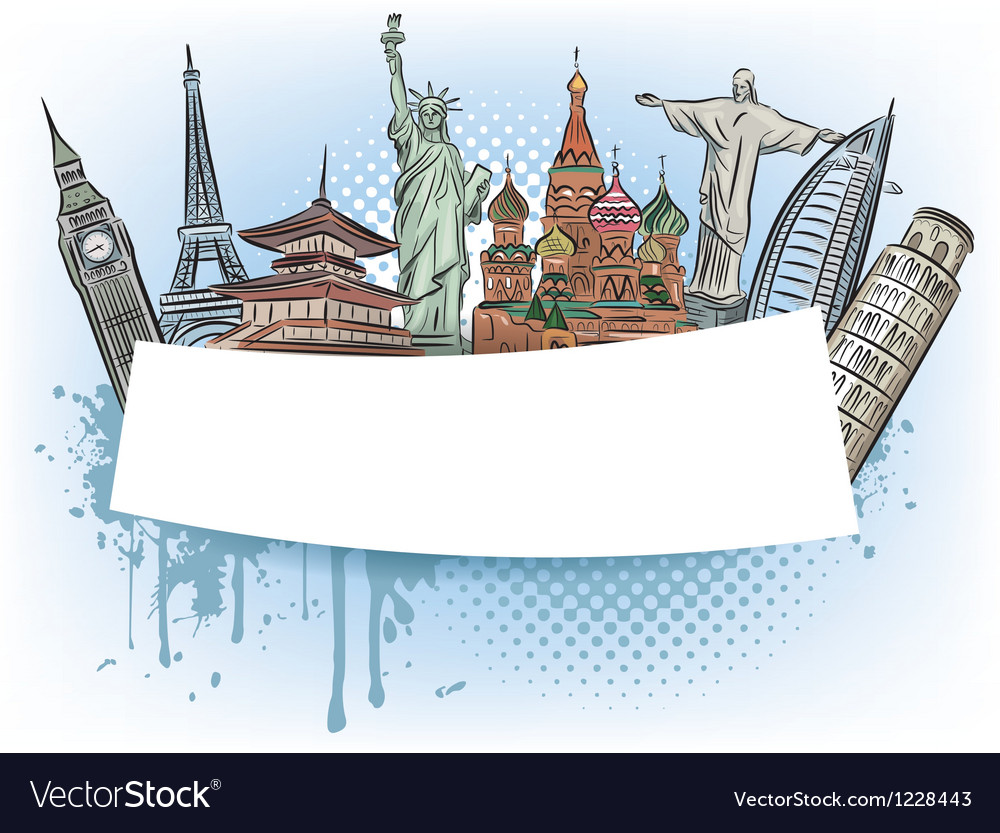 Travel to wonders world banner vector