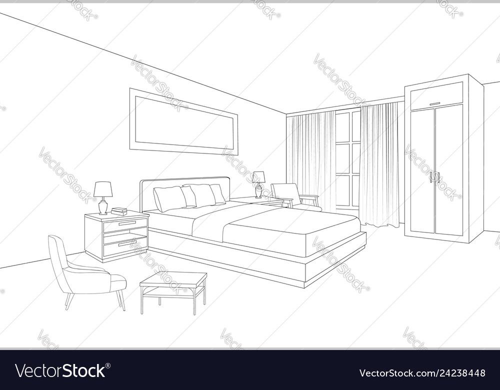 Bedroom Perspective Sketch Vector Images 38