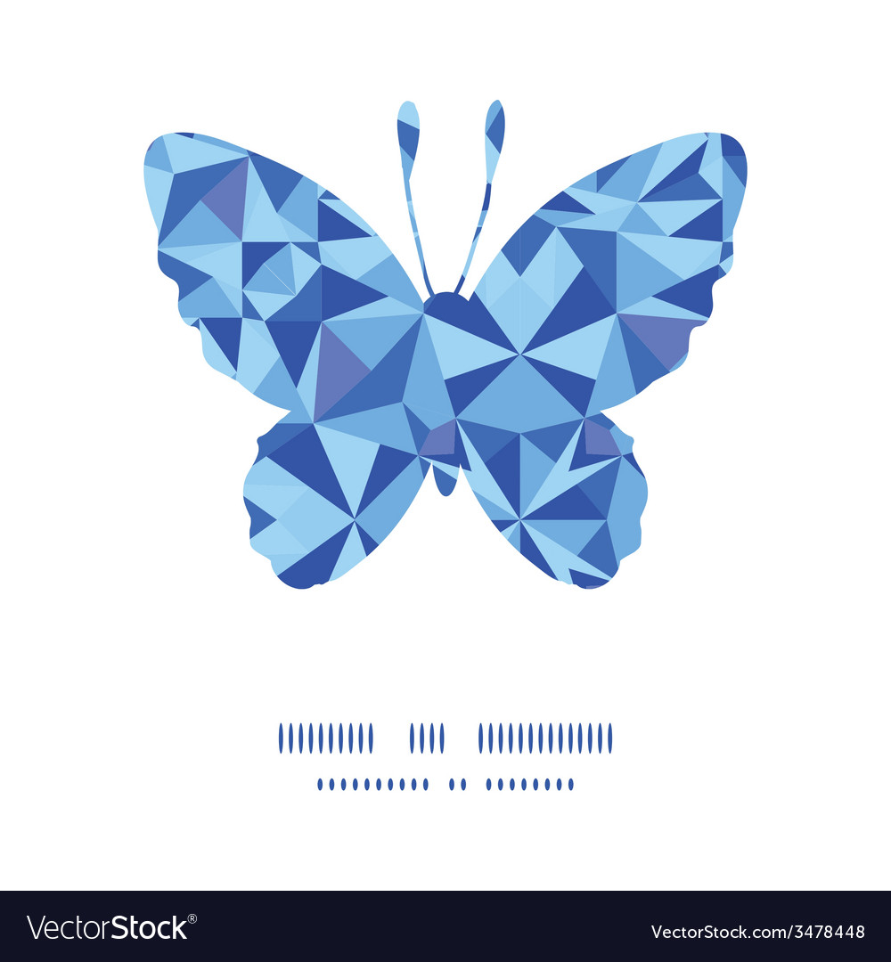 Blue triangle texture butterfly silhouette pattern