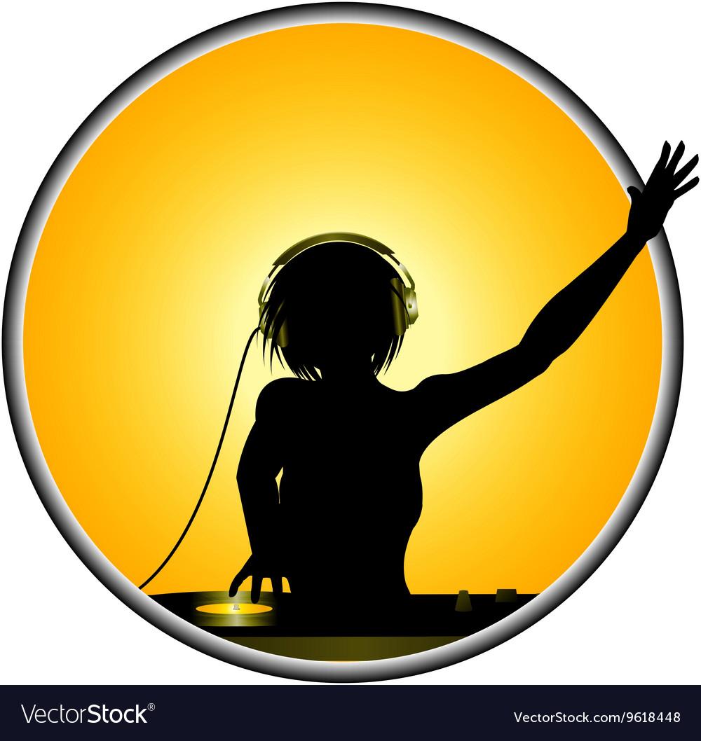 Female DJ silhouette border