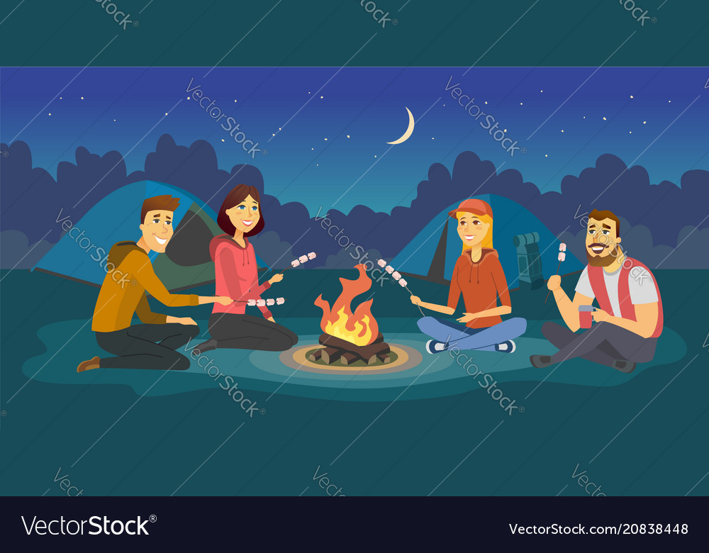 Friends on a camp - cartoon people character