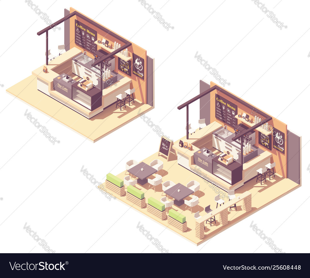 Isometric food court coffee kiosk