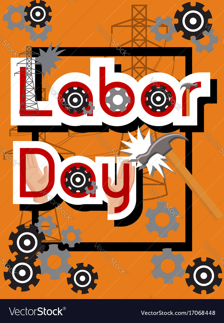Labor day sale concept with hammer gears hands