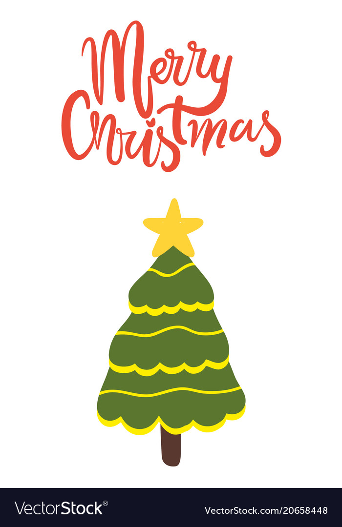 Merry christmas greeting card with decorated tree